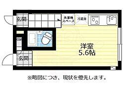 JR中央線 三鷹駅 徒歩8分の賃貸アパート 1階ワンルームの間取り