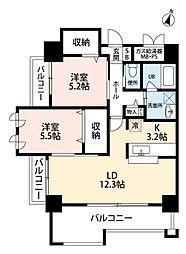 福岡県北九州市小倉北区清水1丁目の賃貸マンションの間取り