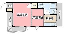 山科 小堀マンション[D-2号室]の間取り