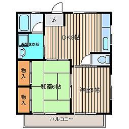 オークハウス[2-B号室]の間取り