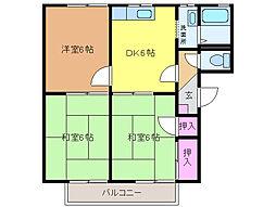 愛媛県松山市中村1丁目の賃貸アパートの間取り