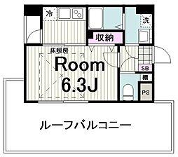 東急田園都市線 鷺沼駅 徒歩18分の賃貸マンション 3階1Kの間取り