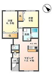 G.L.Kahito 1階2LDKの間取り