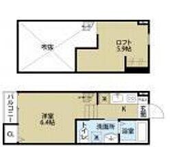 FOREST RESIDENCE IKUTA 2階1Kの間取り