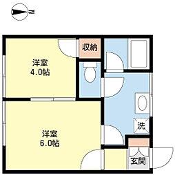 新潟県新潟市西区五十嵐一の町の賃貸アパートの間取り