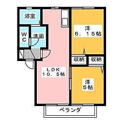 中根マンション C[2階]の間取り