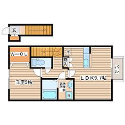 JR東北本線 名取駅 徒歩23分の賃貸アパート 2階1LDKの間取り