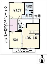 ローベルジュA[2階]の間取り