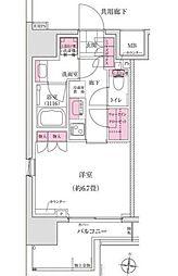 東京メトロ東西線 木場駅 徒歩6分の賃貸マンション 6階1Kの間取り