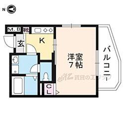 京阪本線 出町柳駅 徒歩17分の賃貸マンション 2階1Kの間取り