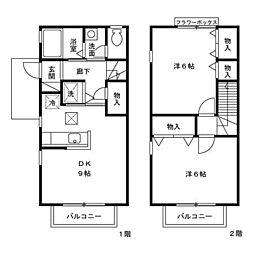 [テラスハウス] 東京都羽村市栄町1丁目 の賃貸【/】の間取り