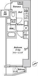 都営三田線 芝公園駅 徒歩9分の賃貸マンション 6階1Kの間取り