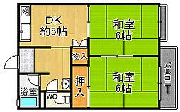 兵庫県宝塚市安倉南1丁目の賃貸アパートの間取り