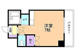 ドエル札幌北11条 2階ワンルームの間取り