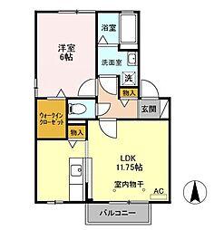 セジュールKIYO  B[2階]の間取り
