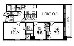 グランドヴュー島本[6階]の間取り