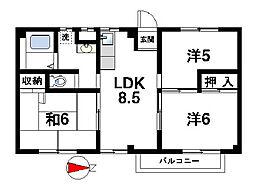 奈良県桜井市大字上之庄の賃貸マンションの間取り
