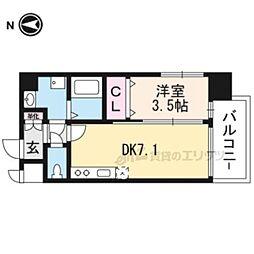 JR東海道・山陽本線 岸辺駅 徒歩4分の賃貸マンション 4階1DKの間取り