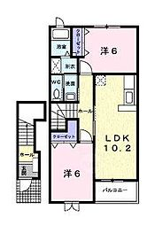 滋賀県甲賀市水口町水口の賃貸アパートの間取り