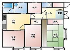 [一戸建] 青森県八戸市類家5丁目 の賃貸【青森県 / 八戸市】の間取り