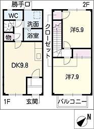 [タウンハウス] 愛知県小牧市小木4丁目 の賃貸【/】の間取り