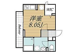 JR総武線 西千葉駅 徒歩7分の賃貸アパート 2階ワンルームの間取り