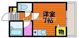 岡山県岡山市北区富原の賃貸アパートの間取り