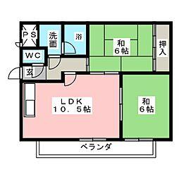 中之島ハイツ[2階]の間取り