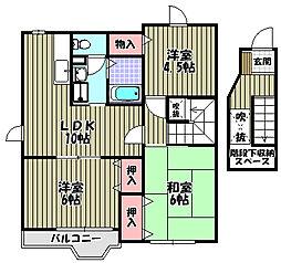 大阪府大阪狭山市茱萸木3丁目の賃貸アパートの間取り