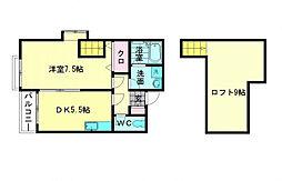 福岡県福岡市西区愛宕1丁目の賃貸アパートの間取り