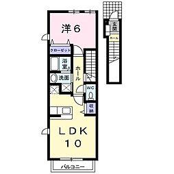 岡山県岡山市中区平井1の賃貸アパートの間取り