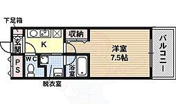 シェモア藤井寺駅前 2階1Kの間取り