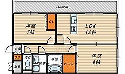 ラ・プラージュ 1階2LDKの間取り