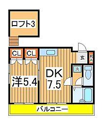 カーサ増尾[2階]の間取り