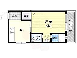 阪急京都本線 上新庄駅 徒歩5分の賃貸マンション 3階1DKの間取り