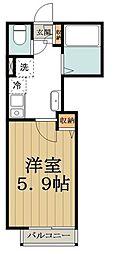 バークレーコート高円寺 3階1Kの間取り
