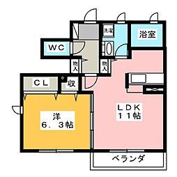 エル クレール B[1階]の間取り