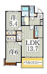 スペリオK-2[1階]の間取り