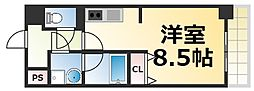 Osaka Metro千日前線 今里駅 徒歩4分の賃貸マンション 8階1Kの間取り