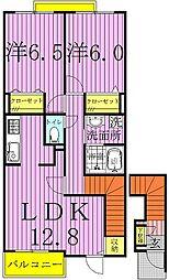 千葉県柏市岩井の賃貸アパートの間取り