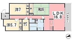 キャッスルコート飯田[804号室]の間取り