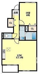 名鉄西尾線 吉良吉田駅 徒歩11分の賃貸アパート 1階1LDKの間取り