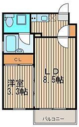 東京都大田区西蒲田6丁目の賃貸マンションの間取り