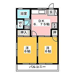 ルネッセキノミヤ田村[2階]の間取り