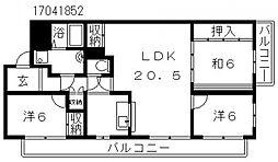 大阪府大阪市住吉区遠里小野6丁目の賃貸マンションの間取り