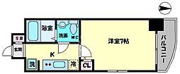 セレニテ桜川駅前プリエ 7階1Kの間取り