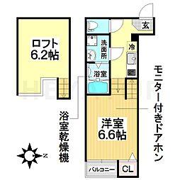愛知県名古屋市南区中江2の賃貸アパートの間取り