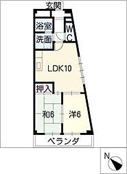 太平コーポラスII[4階]の間取り
