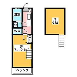 パルハイム2001B[2階]の間取り
