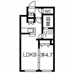 CITY RESIDENCE幌平橋 46階1LDKの間取り